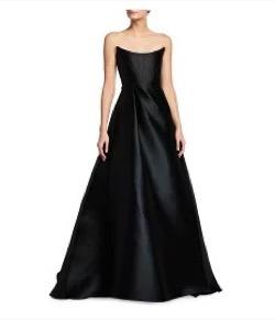 Denver Strapless Satin Gown BLACK