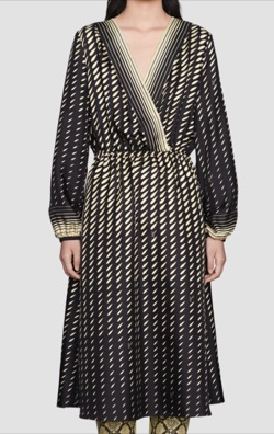 GUCCI(グッチ)スカーフ付きプリントシルクドレス