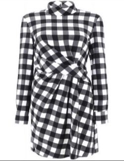 MSGM CHECK PRINT DRESS WITH DARTS MSGM