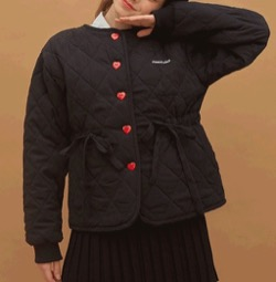 HEART CLUB 巾着ウエストキルティングブラックジャケット
