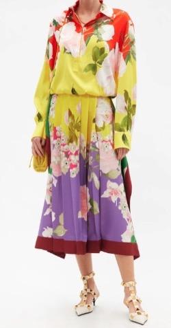 VALENTINO (ヴァレンティノ)Flying Flowers Print Silk-Twill Shirtdress