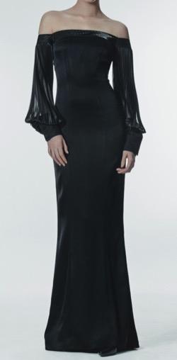 JAYBAEK COUTURE  Black Silk-Pleats Dress