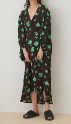 GANNI(ガニー) Printed Crepe Silk Dress