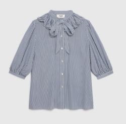 Mine マイン・イボヨンブルーの襟フリルストライプシャツ