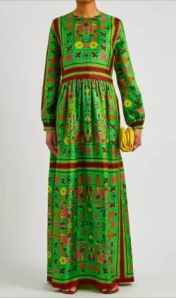 toryburch Scarf Print Silk Maxi Dress