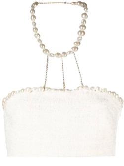 【TWICE・Jihyo(ジヒョ)】Alcohol-FreeのMV衣装(スカーフ)白いパールのホルターネックトップス